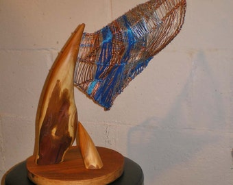 Yew Wood Abstract Sculpture with Wire Sail Armature