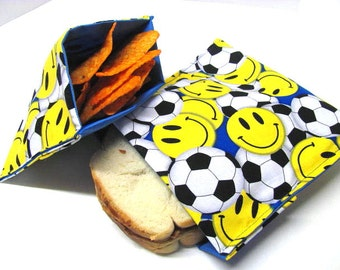 2 Pc Reusable Sandwich Snack Bag Set, Soccer Lunch Kit, Eco Sandwich Bag Sports Back to School Ready to Ship