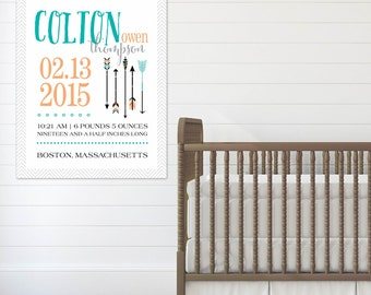Woodland Nursery Birth Announcement Art, Modern Forest Nursery Art, Unique Baby Shower Gift // Choose Art Print or Canvas // N-XW07-1PS AA6