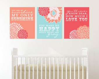 Coral and Blue You are My Sunshine Artwork for Nursery or Kids Room // Set of 3 Giclée Art Prints // N-G03-3PS AA1
