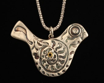 Bird Necklace with Riveted, Moveable Wing - Fine Silver - Southwestern - Handmade Artisan Jewelry - ME Designs