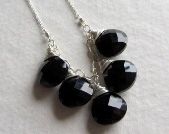 Wire Wrapped Black Spinel Gemstone Necklace - Made in Seattle Silver Jewelry - Holiday Gift