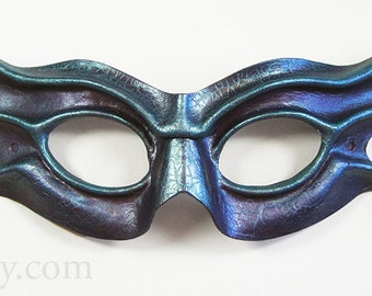 Imp leather eye mask, purple and light turquoise-blue with a crackled antique finish, Halloween
