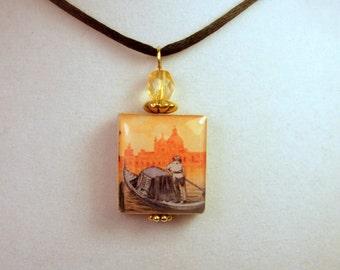 GONDOLA Necklace / Venice, Italy Beaded Scrabble Pendant / Upcycled Jewelry