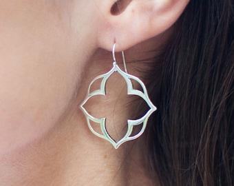 Sterling silver stylized clover design earrings, lotus earrings, clover style, statement earrings, modern earrings