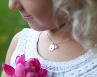 Personalized Flower girl necklace, initial charm necklace for child, childrens jewelry, junior bridesmaid gift, flower girl gift
