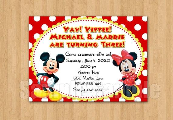 spesso Festa di compleanno Minnie Topolino gemelli personalizzati MQ36