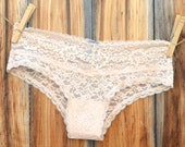 Personalize Something Peach Beige  BRIDAL Lingerie Seamless Lace BRIDE in rhinestones size Large -Ships in 24hrs