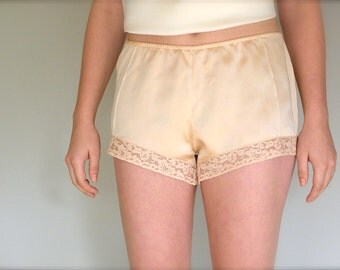 Silk Tap Shorts, Wedding Lingerie, Silk Boxer Shorts, Vintage Lace Short, Silk Panties, Gift for Her, Ready to Ship, Bride Gift, Made in USA