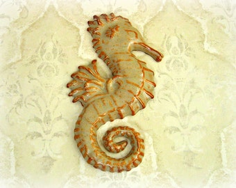 Second- Decorative Seahorse in Rusty Cream- Wall Art