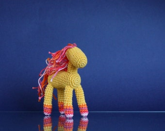 Handknit little pony, amigurumi Red and Yellow horse, Equestrian gift, crochet horse, posable horse, hand knit pony, little pony, baby gift