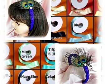 Peacock feather headband, peacock wedding flower girl hair accessory.