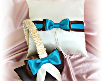 Chocolate brown and turquoise ring pillow and flower girl basket, wedding ring cushion and basket set
