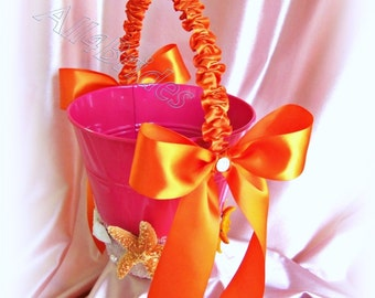 Starfish beach wedding flower girl pail, hot pink and orange flower girl basket. READY TO SHIP