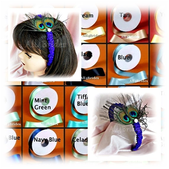 Peacock feather headband, flower girl wedding hair accessories, custom colors