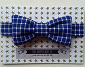 Tiny Dapper Childrens BOW TIE Boys Necktie Royal Blue White Check Little Gent with Custom options