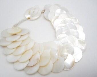 Mother of Pearl Bracelet, Shell Bracelet, Statement Bracelet, Shell Toggle, Shell Closure, Handmade, Mother of the Bride Jewelry, SKU 4257