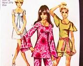 1970s Mini Dress Pattern Simplicity Misses size 12 Womens A line Mini Dress, Flutter Sleeve Tunic, Pants, Shorts Vintage Sewing Pattern