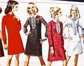 1960s Dress Pattern Simplicity Misses size 12 Womens A line Shift Dress Pattern Vintage Sewing Pattern