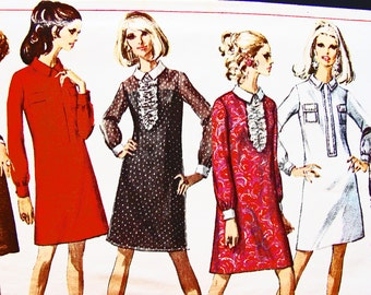 1960s Dress Pattern Simplicity Misses size 12 Womens Shift Dress Pattern Vintage Sewing Pattern