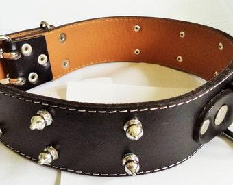XXL Cool Leather Dog Collar Black Spikes