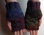 Fall Colors Hand Knitted Basket Weave Fingerless Gloves
