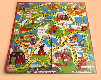 Uncle Wiggily's Bungalow Vintage 1950s Game Board Milton Bradley Children's Room Decor Wall Art