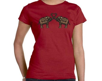 Plus Size Top,  Elephant t-shirt, Ethnic Tribal garnet red, Elephant and Heart Top, Gift for Her