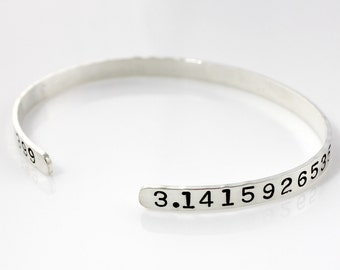 Pi Hand Cuff Bracelet - Hand Stamped and Personalized Sterling Silver Bracelet - Geekery