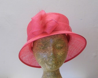 Sample SALE - Mother Of The Bride Hat - Hot Pink