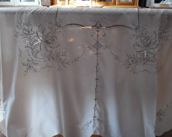 Tablecloth Cutwork and Taupe Embroidery on  Light Ecru Scalloped Edge 70 X 100 Inches ECS SVFT