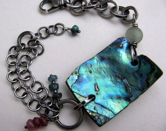 Sterling Silver Chain and Shell Bracelet, OOAK Abalone Shell Bracelet, Organic Rustic Unique Reversible