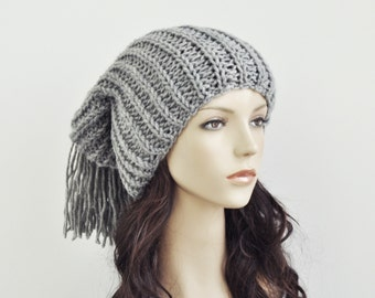 Hand knit hat - Chunky light grey wool hat, slouchy hat,fringe hat - ready to ship