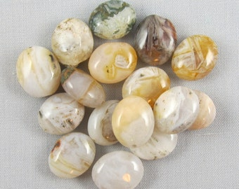Bamboo Leaf Agate 12mm x 10mm Oval Beads - 16 pieces #M11