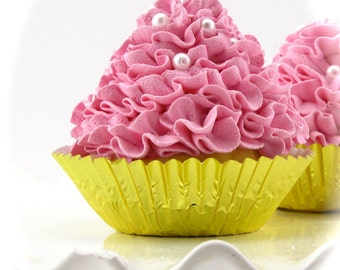 """Fake Ruffle Cupcake """"Sweet Ruffle Collection"""" Pink Frosted Gold Metallic Liner Standard Size Can Customize Colors First Birthday Photo Prop"""
