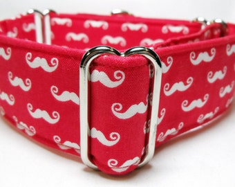Sassy 'Stache Red and White Greyhound, Whippet, Galgo, Pit Bull, Dog Sighthound Martingale Collar