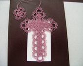 Mauve Berry Tatted Lace Cross Bible Bookmark