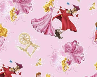 Disney Sleeping Beauty Character Toss Light Pink Cotton Woven by the yard