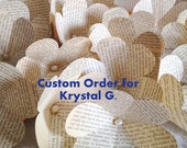 Custom Order for Krystal G - Red Burlap and Vintage Book Page Flower Bridal, Bridesmaid, and Boutonniere