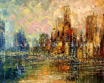 "Cityscape Palette Knife Original Painting Urban Art City Street Waterfront Handmade by Tatiana Iliina - ""CHICAGO SHORE"" - Made to order"
