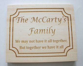 Personalized Maple Cutting Board Etched Cutting Board Laser Engraved Wedding Gift Custom Engraved
