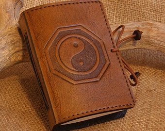 A7, Mini, Leather Bound Journal, Yin Yang Journal, Tai Chi Notebook, Brown Leather, Leather Notebook, Pocket Notebook, Personalised Diary.
