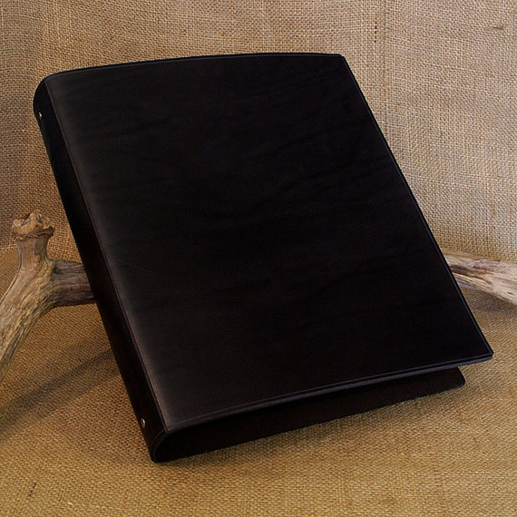 Large Classic Black Leather 4 Ring Binder A4 Organizer
