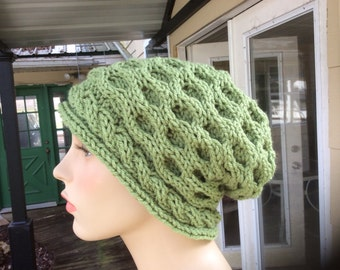 Lettuce green honeycomb slouch beanie- Free Shipping!