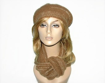 Hand Knit  Beret and Scarf - Hand Spun Undyed/Natural Pure 100 Camel Hair/Undercoat Yarn