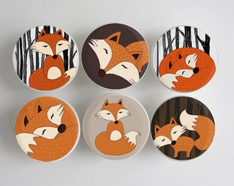 Fox Drawer Knobs, Woodland Fox Knobs, Wood Knobs- 1 1/2 Inches -Choose your quantity - Made-to-Order