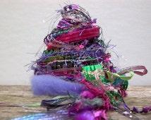 wildflowers fringe effects™  art yarn bundle 21yds luxury fibers ribbons embellishments . pink purple green sparkle novelty yarn pack