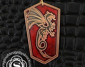 Dragon pendant, dragon necklace, dragon jewelry, fantasy pendant, game of thrones, copper pendant, red copper pendant, serpent