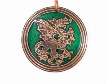 Welsh dragon round copper pendant with green inlay