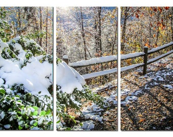 Tennessee Autumn Snow in Forest Canvas Triptych, 3 Panel Art, LARGE, Ready to Hang
